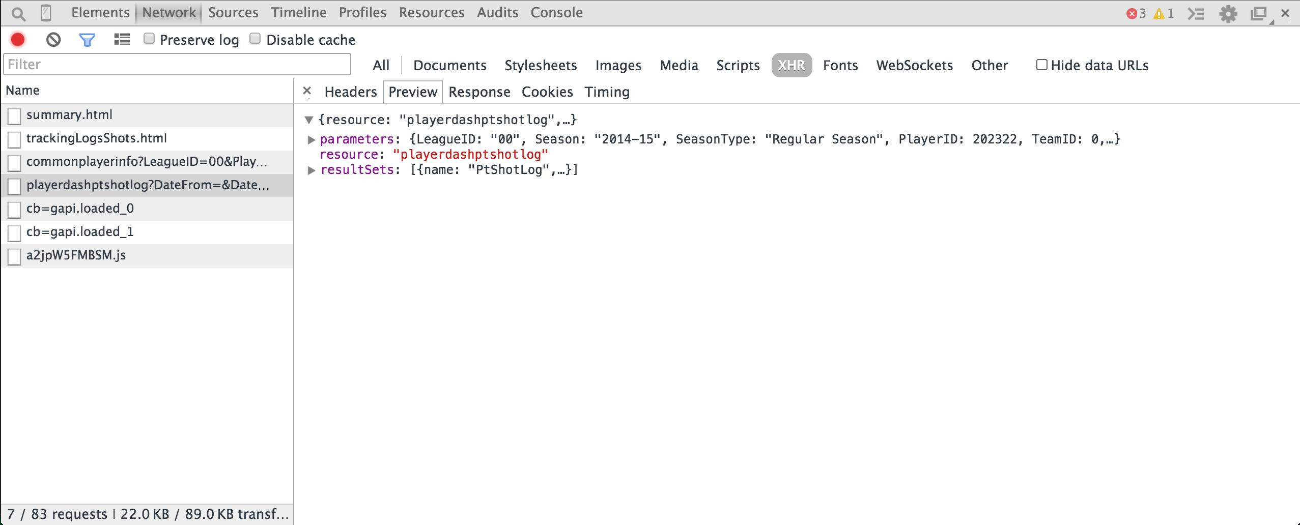 API response preview